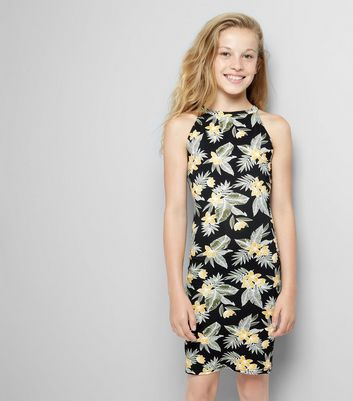 Teens Black Floral Print Bodycon Dress