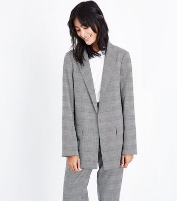 Grey Check Contrast Cuff Girlfriend Blazer