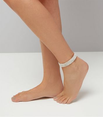 Clear Crystal Embellished Anklet