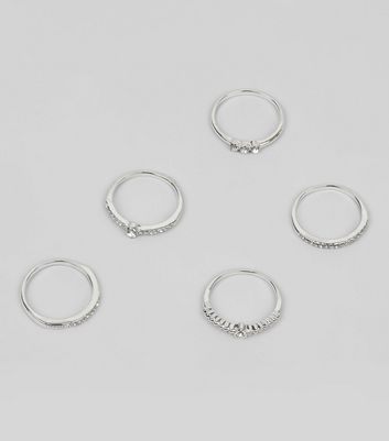 5 Pack Silver Diamante Rings