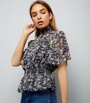 Black Floral Print Chiffon High Neck Blouse