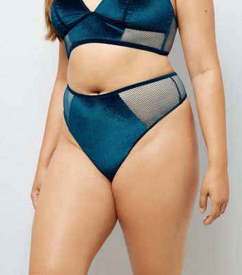 Curves Teal Fishnet Trim Velvet Thong