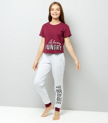 Teens Burgundy Always Hungry Feed Me Pyjama Set