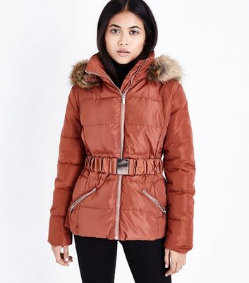 Petite Rust Belted Puffer Jacket
