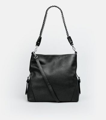 Black Textured Oversized Shoulder Bag