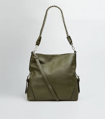 Khaki Textured Oversized Shoulder Bag