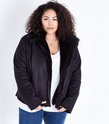 Curves Black Faux Faur Lined Aviator Jacket