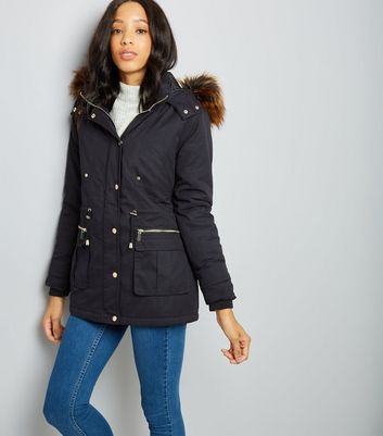 Black Faux Fur Trim Parka Jacket | New Look