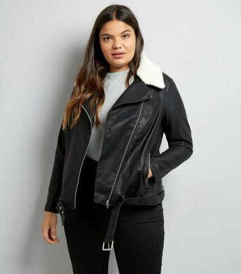 Curves Black Faux Shearling Collar Biker Jacket