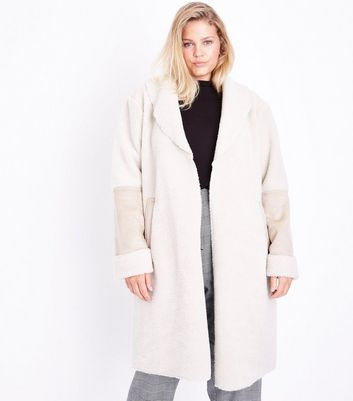 Curves Cream Faux Shearling Longline Coat