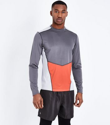Charcoal Grey Colour Block Sports Top