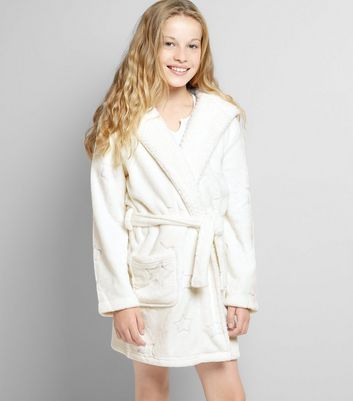 Teens Cream Star Embossed Robe