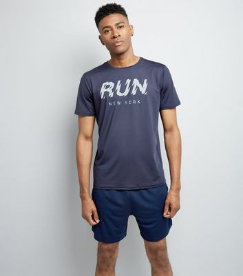 Navy Run Slogan Sports T-Shirt