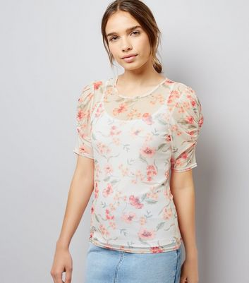 White Floral Print Gathered Sleeve T-Shirt