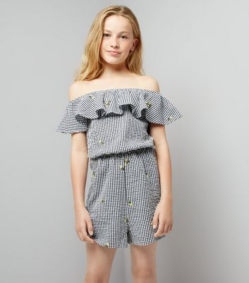 Teens Black Floral Embroidered Gingham Playsuit