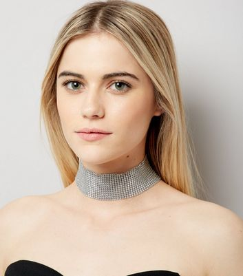 Silver Wide Chain Mail Choker