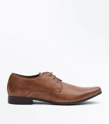 Tan Perforated Formal Gibson Shoes