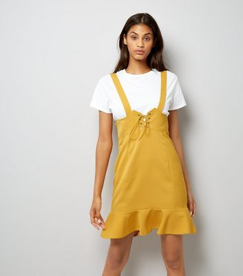 Yellow Corset Pinafore Dress