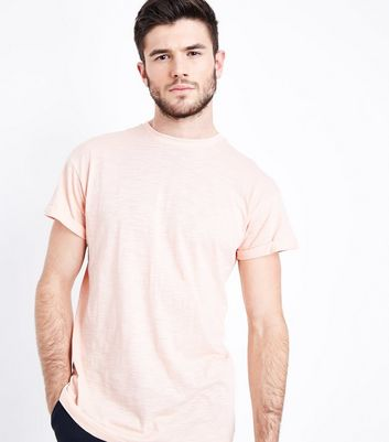Shell Pink Cotton Rolled Sleeve T-Shirt