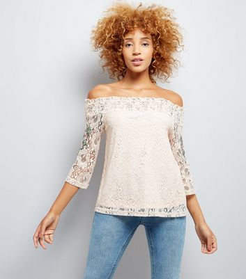 Pink Floral Embroidered Lace Bardot Neck Top