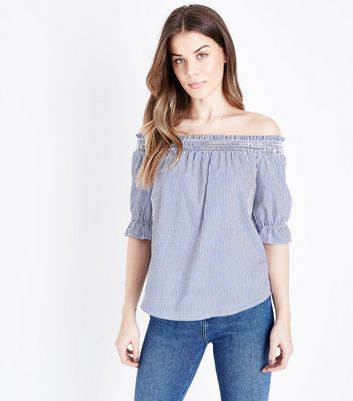Blue Stripe Shirred Bardot Neck Top