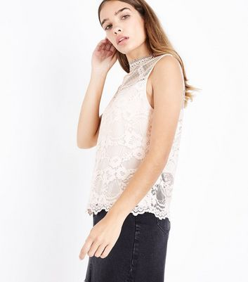 Shell Pink Lace Sheer Yoke Vest Top