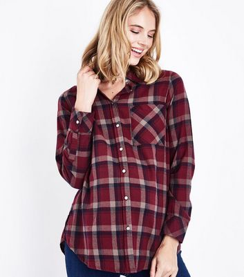 Maternity Red Check Pocket Front Shirt