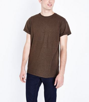 Brown Rolled Sleeve T-Shirt