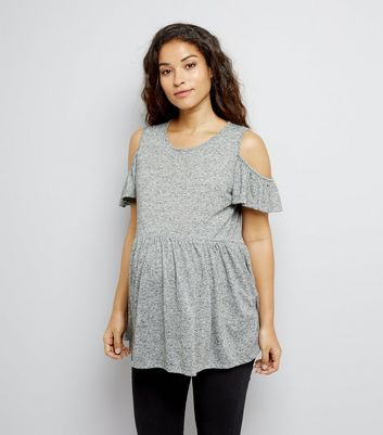 Maternity Grey Cold Shoulder Peplum Top