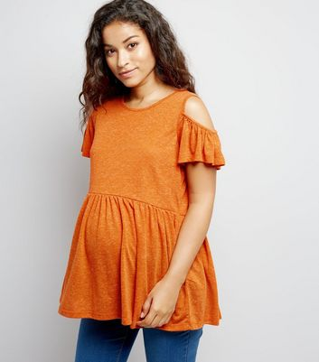 Maternity Orange Cold Shoulder Peplum Top