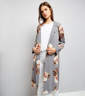 Cameo Rose Light Grey Floral Print Duster Coat