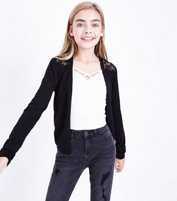Teens Black Lace Back Cardigan