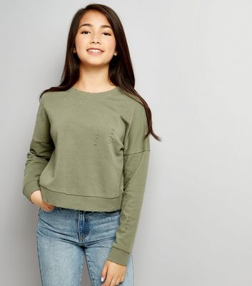 Teens Khaki Ripped Sweater
