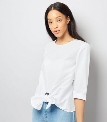White Knot Front Blouse