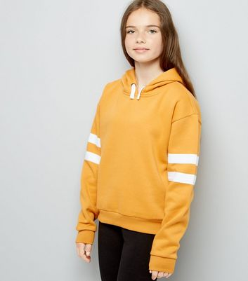 Girls Yellow Stripe Sleeve Hoodie