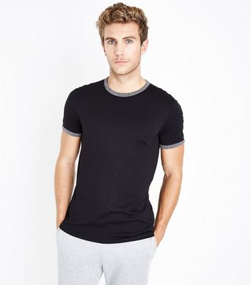 Black Contrast Trim Ringer T-Shirt