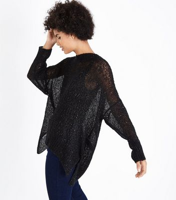 Black Loose Knit Sequin Jumper