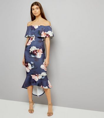 Pink Vanilla Navy Floral Print Bardot Neck Dress
