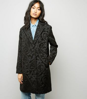 Black Paisley Jaquard Coat