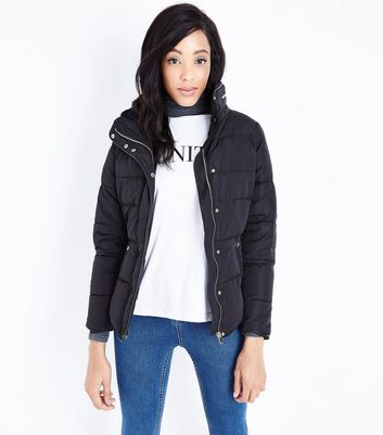 Black Faux Fur Trim Padded Puffer Jacket