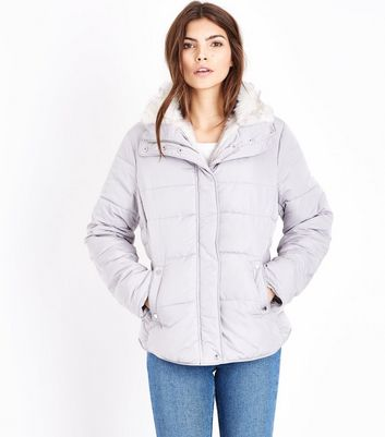 Grey Faux Fur Trim Padded Puffer Jacket