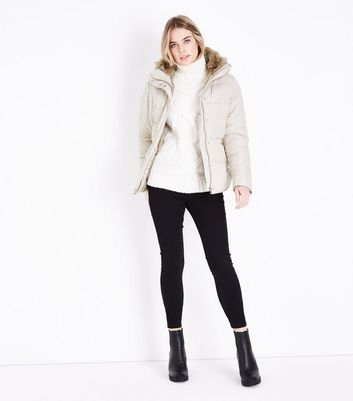 Cream Faux Fur Trim Padded Puffer Jacket