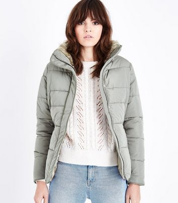 Olive Green Faux Fur Trim Padded Puffer Jacket