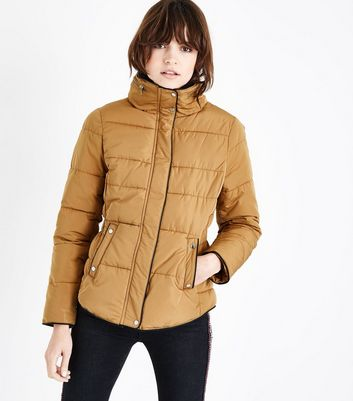 Mustard Faux Fur Trim Padded Puffer Jacket