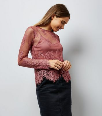 Shell Pink Scallop Hem Lace Top