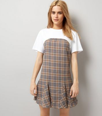 Grey Check 2 In 1 T-Shirt Dress
