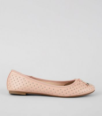 Wide Fit Pink Stud Detail Ballet Pumps