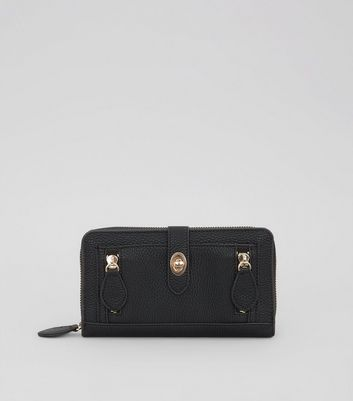 Black Double Zip Push Zip Around Lock Purse