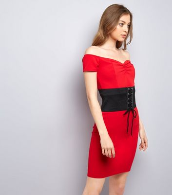 Pink Vanilla Red Corset Belt Bardot Dress