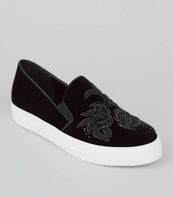 Black Velvet Floral Embroidered Slip On Plimsolls
